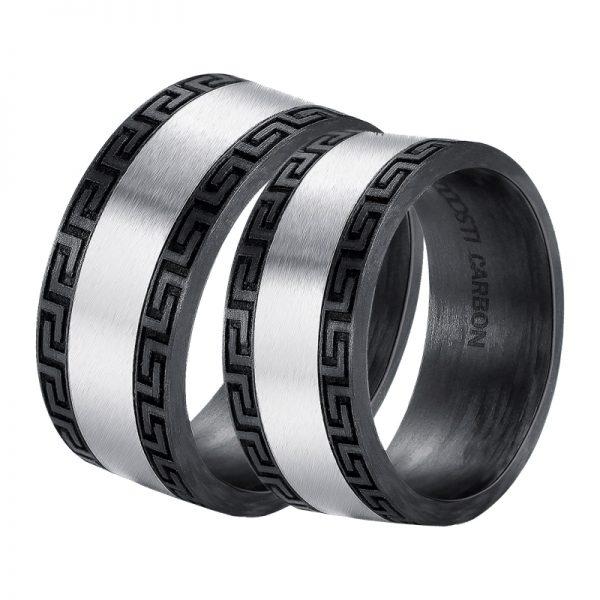 DOOSTI Carbon Ringe / Partnerringe Carbon mit Edelstahl