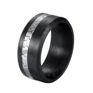 DOOSTI Carbon Ring / Partnerring Carbon mit Edelstahl