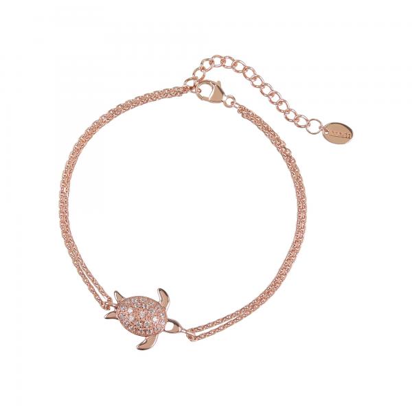 DOOSTI Damen Armband Schildkröte 925 Silber Rosegold vergoldet