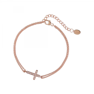 DOOSTI Damen Armband Kreuz 925 Silber Rosegold vergoldet