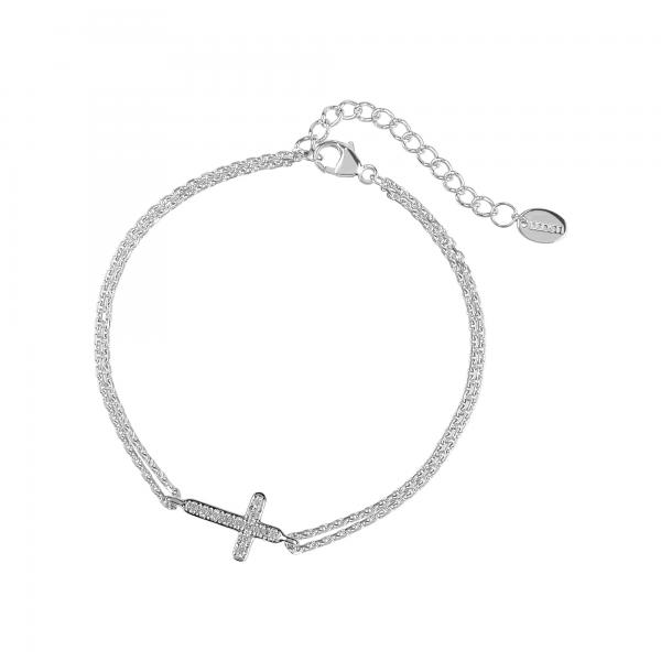 DOOSTI Damen Armband Kreuz 925 Silber rhodiniert