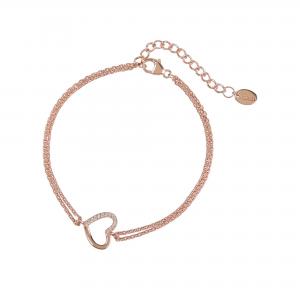 DOOSTI Damen Armband Herz 925 Silber Rosegold vergoldet