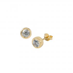 DOOSTI Damen Ohrstecker 925 Silber Gelbgold vergoldet