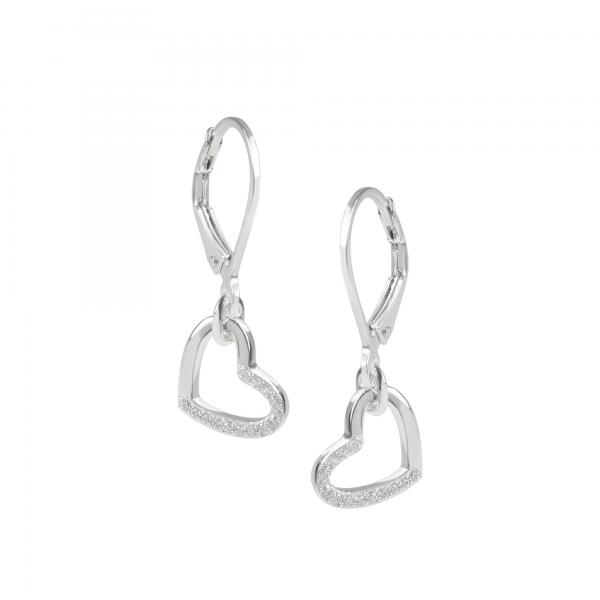 DOOSTI Damen Ohrhänger Herz 925 Silber rhodiniert