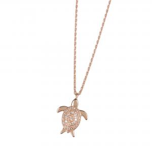DOOSTI Damen Collier mit Anhänger Schildkröte 925 Silber Rosegold vergoldet