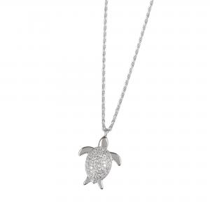 DOOSTI Damen Collier mit Anhänger Schildkröte 925 Silber rhodiniert