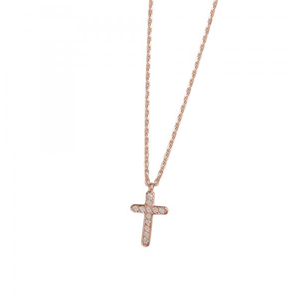 DOOSTI Damen Collier mit Anhänger Kreuz 925 Silber Rosegold vergoldet