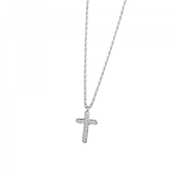 DOOSTI Damen Collier mit Anhänger Kreuz 925 Silber rhodiniert