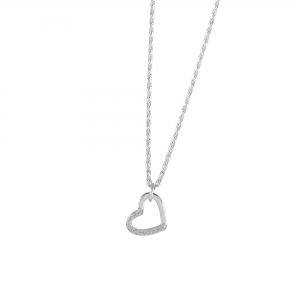 DOOSTI Damen Collier mit Anhänger Herz 925 Silber rhodiniert