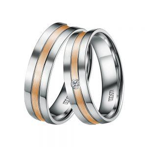DOOSTI Partnerringe / Trauringe 925/- Silber – Bicolor - inkl. Gratis Gravur