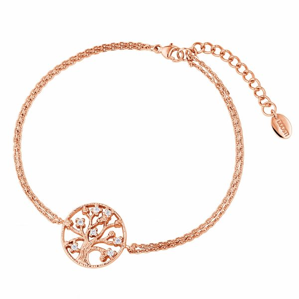 DOOSTI Zartes Armband Lebensbaum 925 Silber Rosegold vergoldet