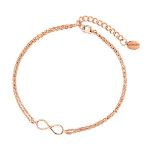 DOOSTI Zartes Armband Unendlichkeit 925 Silber Rosegold vergoldet