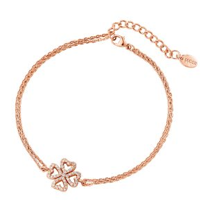 DOOSTI Zartes Armband Kleeblatt 925 Silber Rosegold vergoldet