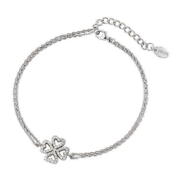 DOOSTI Zartes Armband Kleeblatt 925 Silber rhodiniert