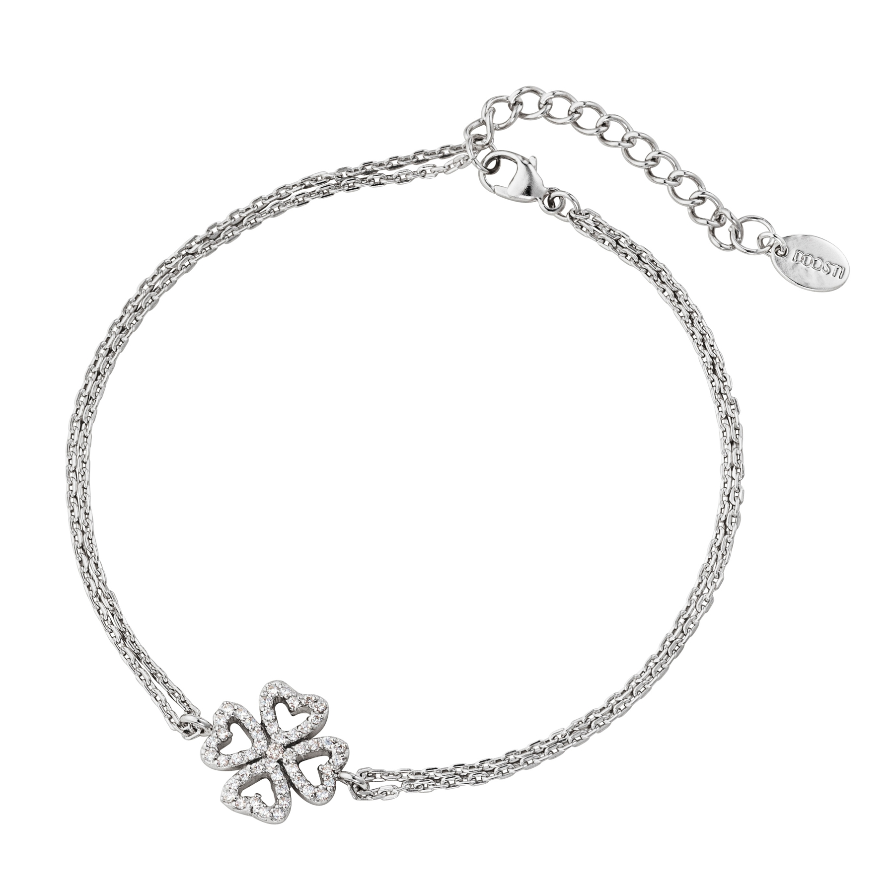 54b29032bee7 DOOSTI Zartes Armband Kleeblatt 925 Silber rhodiniert