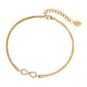 DOOSTI Zartes Armband Unendlichkeit 925 Silber Gelbgold vergoldet