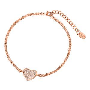 DOOSTI Zartes Armband Herz 925 Silber Rosegold vergoldet