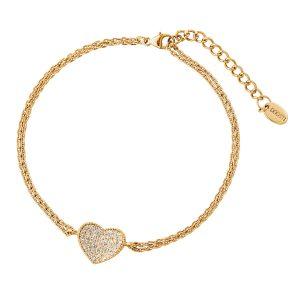 DOOSTI Zartes Armband Herz 925 Silber Gelbgold vergoldet