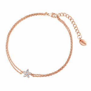 DOOSTI Zartes Armband Blume 925 Silber Rosegold vergoldet