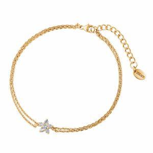 DOOSTI Zartes Armband Blume 925 Silber Gelbgold vergoldet
