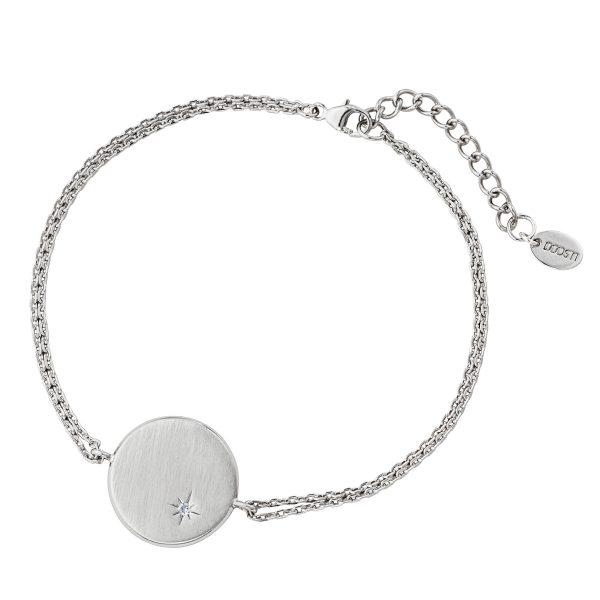 DOOSTI Damen Armband mit runder Platte 925 Silber rhodiniert - inkl. Gratis Lasergravur