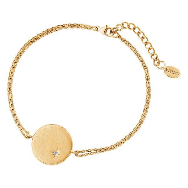 DOOSTI Damen Armband mit runder Platte 925 Silber Gelbgold vergoldet - inkl. Gratis Lasergravur