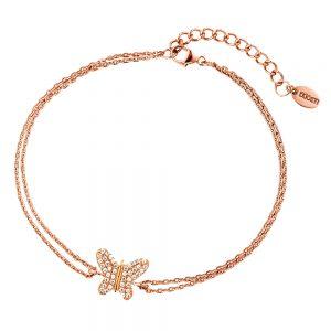 DOOSTI Damen Armband Schmetterling 925 Silber Rosegold vergoldet