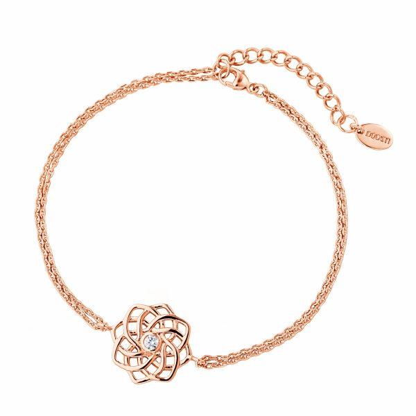 DOOSTI Zartes Armband keltischer Knoten 925 Silber Rosegold vergoldet