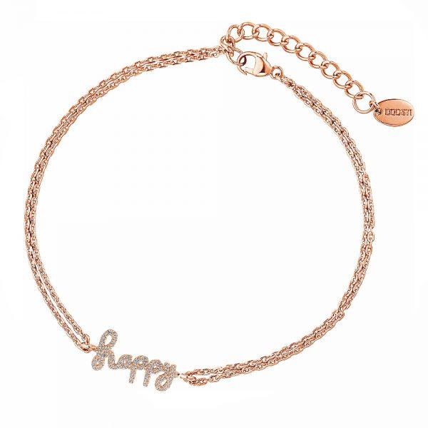 DOOSTI Zartes Armband Happy 925 Silber Rosegold vergoldet
