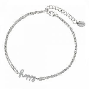 DOOSTI Zartes Armband Happy 925 Silber rhodiniert
