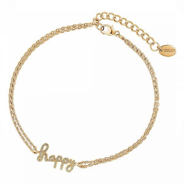 DOOSTI Zartes Armband Happy 925 Silber Gelbgold vergoldet