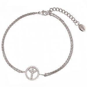DOOSTI Zartes Armband Peace 925 Silber rhodiniert