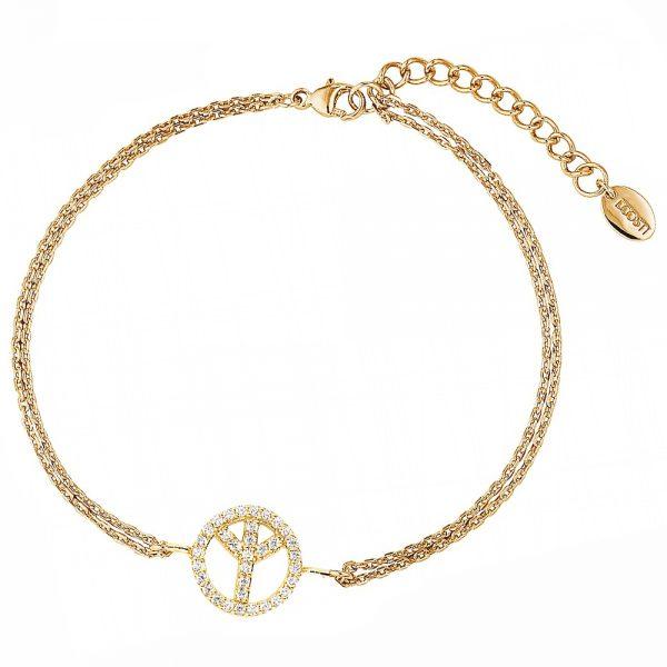 DOOSTI Zartes Armband Peace 925 Silber Gelbgold vergoldet