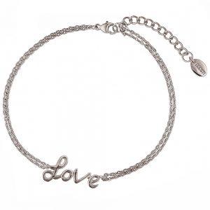 DOOSTI Zartes Armband Love 925 Silber rhodiniert