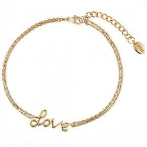 DOOSTI Zartes Armband Love 925 Silber Gelbgold vergoldet