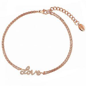 DOOSTI Zartes Armband Love 925 Silber Rosegold vergoldet