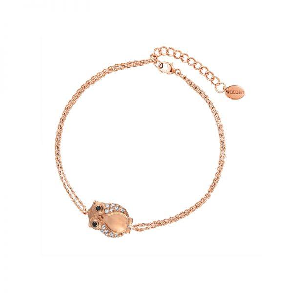 DOOSTI Zartes Armband Eule 925 Silber Rosegold vergoldet