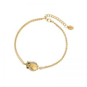 DOOSTI Zartes Armband Eule 925 Silber Gelbgold vergoldet