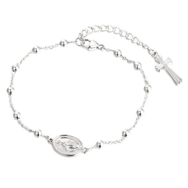 DOOSTI Rosenkranz Armband mit Anhänger 925 Silber rhodiniert