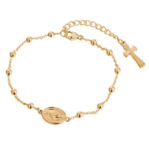 DOOSTI Rosenkranz Armband mit Anhänger 925 Silber Gelbgold vergoldet
