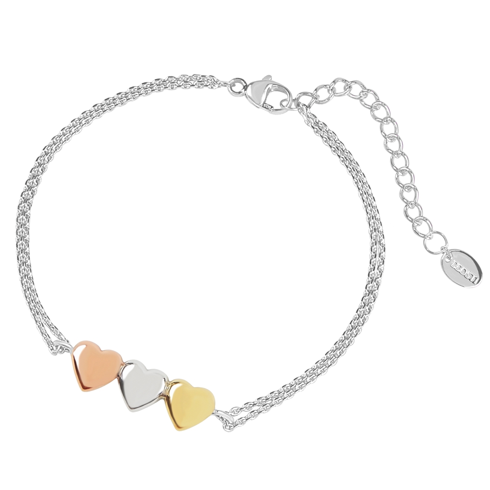 DOOSTI Damen Armband Herzen 925 Silber rhodiniert, RosegoldGelbgold vergoldet