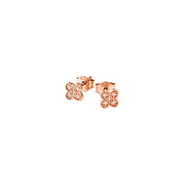 DOOSTI Zarte Ohrstecker 925 Silber Rosegold vergoldet (Paar)