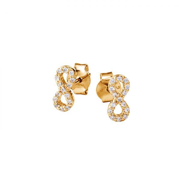 DOOSTI Zarte Ohrstecker Unendlichkeit 925 Silber Gelbgold vergoldet (Paar)