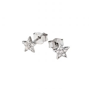 DOOSTI Zarte Ohrstecker Stern 925 Silber rhodiniert (Paar)