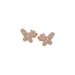 DOOSTI Zarte Ohrstecker Schmetterling 925 Silber Rosegold vergoldet (Paar)