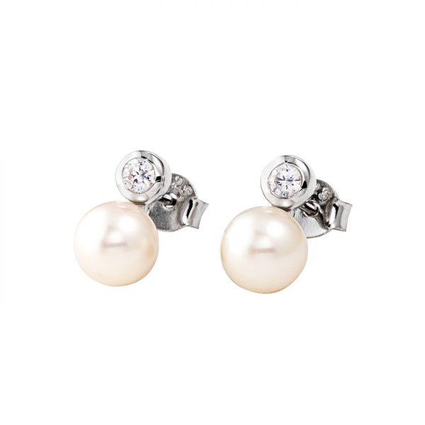 DOOSTI Zarte Ohrstecker Perle 925 Silber rhodiniert (Paar)