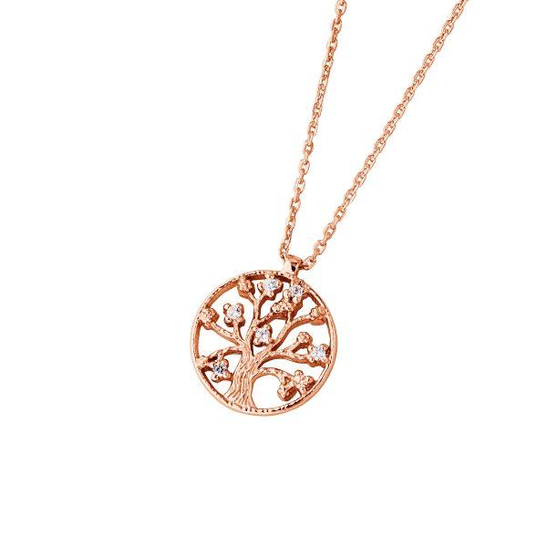 DOOSTI Damen Collier mit Anhänger Lebensbaum 925 Silber Rosegold vergoldet