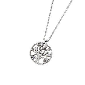 DOOSTI Damen Collier mit Anhänger Lebensbaum 925 Silber rhodiniert