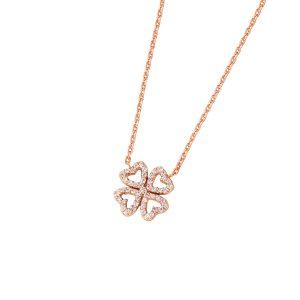 DOOSTI Zarte Halskette Kleeblatt 925 Silber Rosegold vergoldet