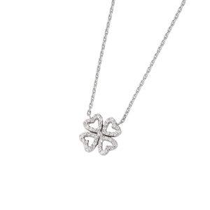 DOOSTI Zarte Halskette Kleeblatt 925 Silber rhodiniert